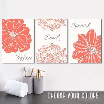 Bathroom Decor, Coral Gray BATHROOM Wall Art, CANVAS or Print, Bath Decor, Bathroom Quotes, Relax Soak Unwind, Bathroom Wall Decor, Set of 3