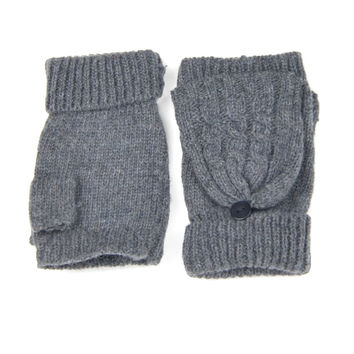 Charcoal Fingerless Knit Gloves with Front Flap