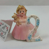 Birthday Figurine Josep Originals The Second Year Birthday Vintage Little Girl Birthday Ceramic Figure