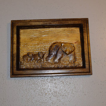 The Three Bears Wood Carving Wood Art Rustic Wall Hanging Ready to Hang Mama Bear 2 Cubs Wildlife Man Cave Decor Handmade in USA Texas