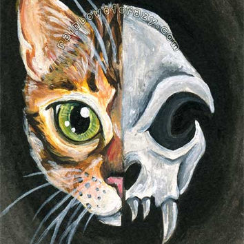 Bengal Cat Print, Cat Skull Art, 8x10 Wall Art, Gothic Decor, Green Eyes, Tabby Cat, Pet Portrait, Animal Illustration, Black and White