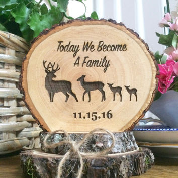 Rustic Wedding Cake Topper, Wood Cake Topper, Blended Family Cake Topper,  Custom Engraved Cake Topper, Family Deer Topper, Wedding Keepsake