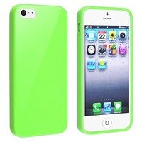 eForCity TPU Rubber Case Compatible with Apple® iPhone® 5 / 5S, Green Jelly