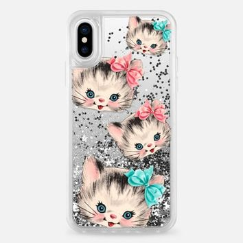 Casetify iPhone X Glitter case - Vintage Kitty by Allison Reich