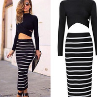 New women dress sexy Celeb bandage bodycon dress Long Sleeve 2 piece set women pencil dresses
