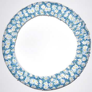 Daisy Blue Steering Wheel Cover, Cute Girly Car Wheel Cover, Made in USA, Girly Car Accessory