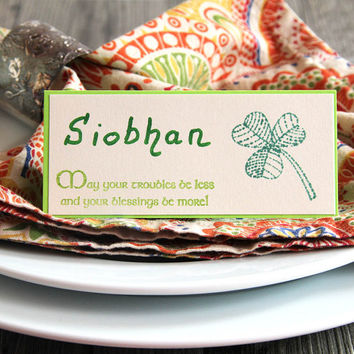 Shamrock Place Cards, Set of Handmade Name Cards with Irish Blessing for St Patrick's Day, Irish Dinner Table Decoration, Seating Cards,