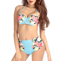 Aqua Floral Print High Waist Push Up Two Piece Swimsuit