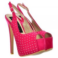 Onlineshoe Peep Toe High Heels - Studded Slingback Stilettos - Fuchsia Pink Suede - Onlineshoe from Onlineshoe UK
