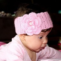 Hand crochet Baby girl headband -children spring  Newborn photography props  pink flower  baby shower fall autumn crocheted fashion gift