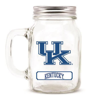 Kentucky Wildcats NCAA Mason Jar Glass With Lid