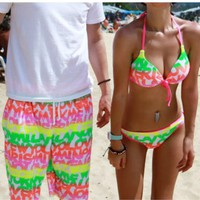 Fluorescence Beach Shorts for Couple