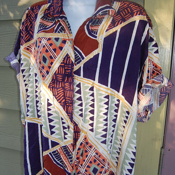 Vintage 80s Rosey Tomato Big Baggy Oversize Abstract Tribal Geometric African Print Shirt Top Blouse Size 20 XL