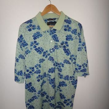 GREG NORMAN Full Print Polo Shirt Beach Surf Hawaii Style