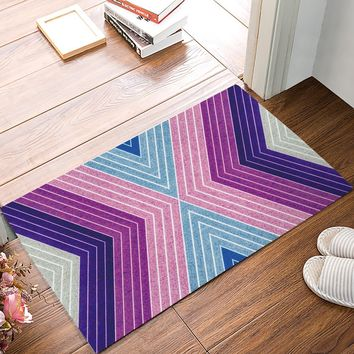 Pink Purple Blue Diagonal Triangle Stripe Door Mats Kitchen Floor Bath Entrance Rug Mat Absorbent Indoor Bathroom