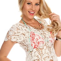 White Crochet Short Sleeve Top