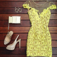 Yellow Short Sleeve V-Cut Back Lace and Mesh Mini Dress