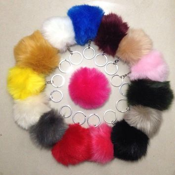 Keychain European 8CM Length  Rabbit Fur Ball