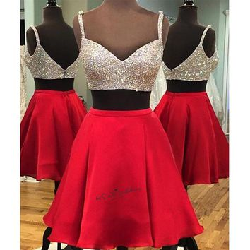 Robe Cocktail Sexy Silver Crystals Red Short Cocktail Party Dress 2018 Above Knee Modest Satin 2 Piece Prom Dresses Custom Made