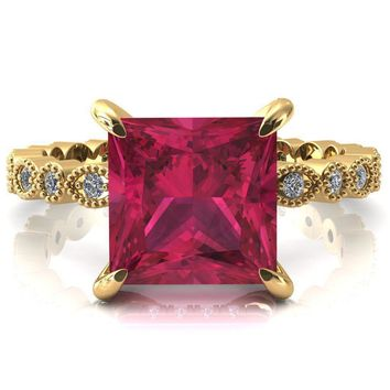 Lizette Princess Ruby 4 Claw Prong 3/4 Eternity Milgrain Diamond Shank Engagement Ring
