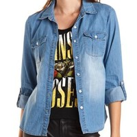 Collared Button-Up Chambray Top by Charlotte Russe - Lt Blue Denim