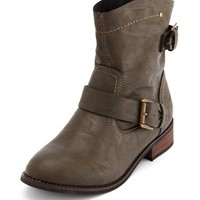 SLOUCHY BUCKLED MOTORCYCLE BOOTIE