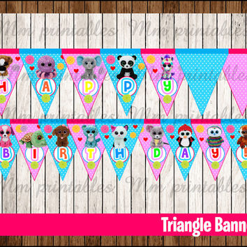 80% OFF SALE Beanie Boo's Triangle Banner instant download, Printable Beanie Boo Triangle Banner, Beanie Boo's Party Banner printable