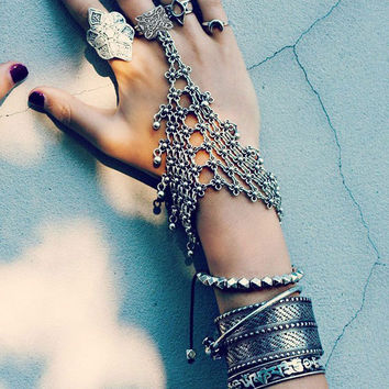 Turkish Silver Bohemian Antalya Power Bracelet Gypsy Beachy Chic Coachella Silver Personality Ethnic Tribal