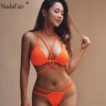 Nadafair Sexy Push Up Bikini Women Swimwear Bandage Swimsuit Beachwear