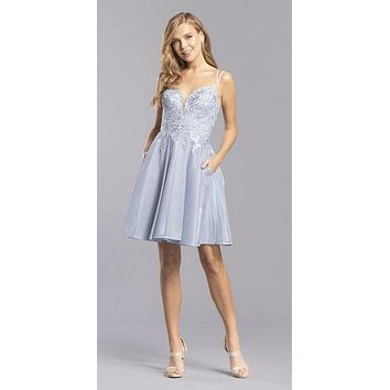 Homecoming Short Dress Cut-Out Back with Pockets Pewter