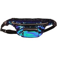 YuKing Unisex Mermaid Sequins Fanny Waist Pack Double Color Beach Waist Bag Casual Sport Outdoor Travel Crossbody Bags