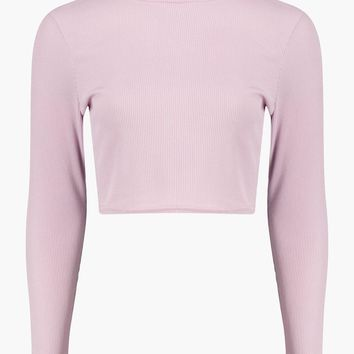 Amber Roll Neck Long Sleeved Rib Crop Top