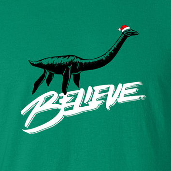 Believe Loch Ness Monster Santa Christmas Lump of Coal Jingle Bells swag T-shirt tee Shirt show hipster Hot Funny Mens Ladies cool MLG-1108