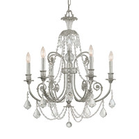 Crystorama Lighting Group 5116-OS-CL-MWP Regis Olde Silver Six-Light Chandelier with Hand Polished Crystal