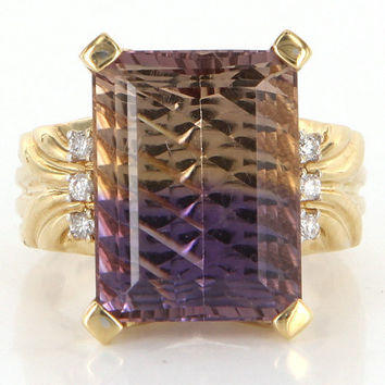 Vintage 14 Karat Yellow Gold Diamond Ametrine Cocktail Ring Fine Estate Jewelry
