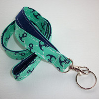 Fabric Lanyard  ID Badge Holder - Lobster clasp and key ring - mint navy and white anchors on navy -   two toned double sided