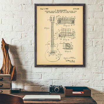 Electric Guitar Patent Printable, Musical Instrument Diagram, Guitar Vintage Blueprint, Music Gift Idea, Guitar Wall Poster, Guitar Diagram