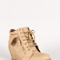 Peter-2 Lace Up Round Toe Wedge Sneaker