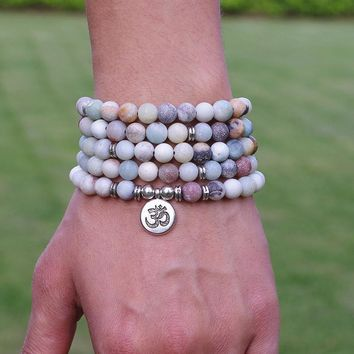 Women Men Jewelry 8mm Matte Amazonite Stone Beads OM Charm Strand Bracelet 108 Mala Beads Yoga Chakra Bracelet or Necklace