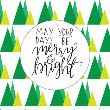 merry and bright, christmas sign, PRINTABLE christmas wall art, wall art printables, christmas decor, holiday printable