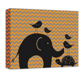 Elephant Turtle and Birds Canvas Wall Art