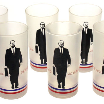 Set 6 James A Rhodes A Man On The Go Appreciation Dinner Drinking Glasses 1970