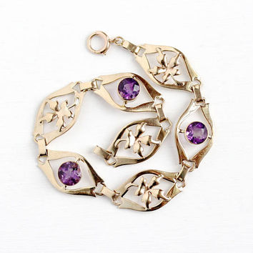 Vintage 10k Rosy Yellow Gold Genuine Amethyst Panel Bracelet - Retro 1940s Purple Gem February Birthstone Fine Binder Bros Leaf Jewelry