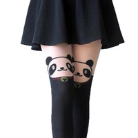 Adorable Panda Bear Print Mock Thigh High Pantyhose Tights in Black | DOTOLY