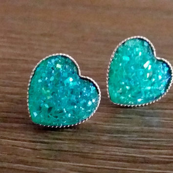 Druzy earrings- Aqua heart drusy silver tone stud druzy earrings