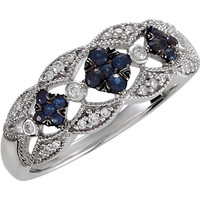 Sterling Silver Blue Sapphire & 1/10 CTW Diamond Ring