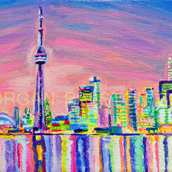 "ORIGINAL acrylic painting on stretched canvas - Toronto Skyline - 5x7"" Expressive City Color Art"