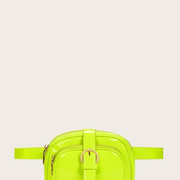 Neon Lime Buckle Strap Bum Bag