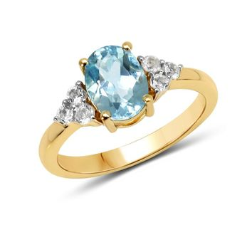 LoveHuang 1.66 Carats Genuine Blue Topaz and White Topaz Oval Ring Solid .925 Sterling Silver With 18KT Yellow Gold Plating