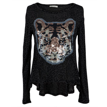 Tiger Sheer Sequins Long Sleeve T-Shirt